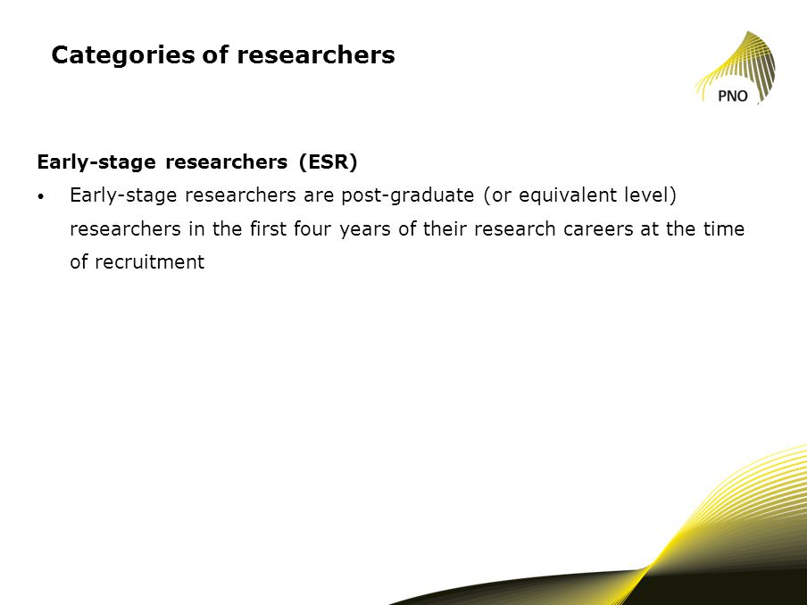 Categories of researchers