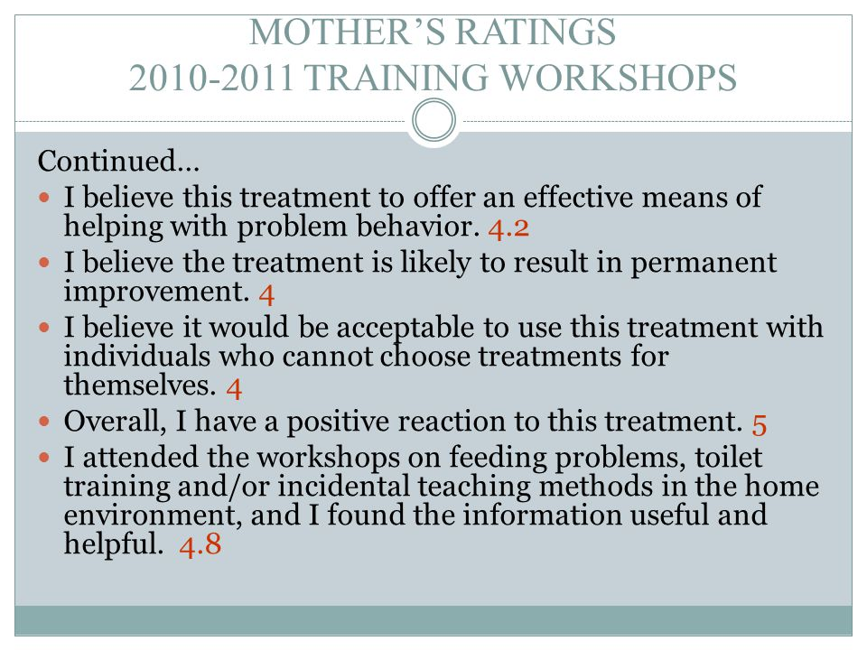 MOTHER'S RATINGS 2010-2011 TRAINING WORKSHOPS