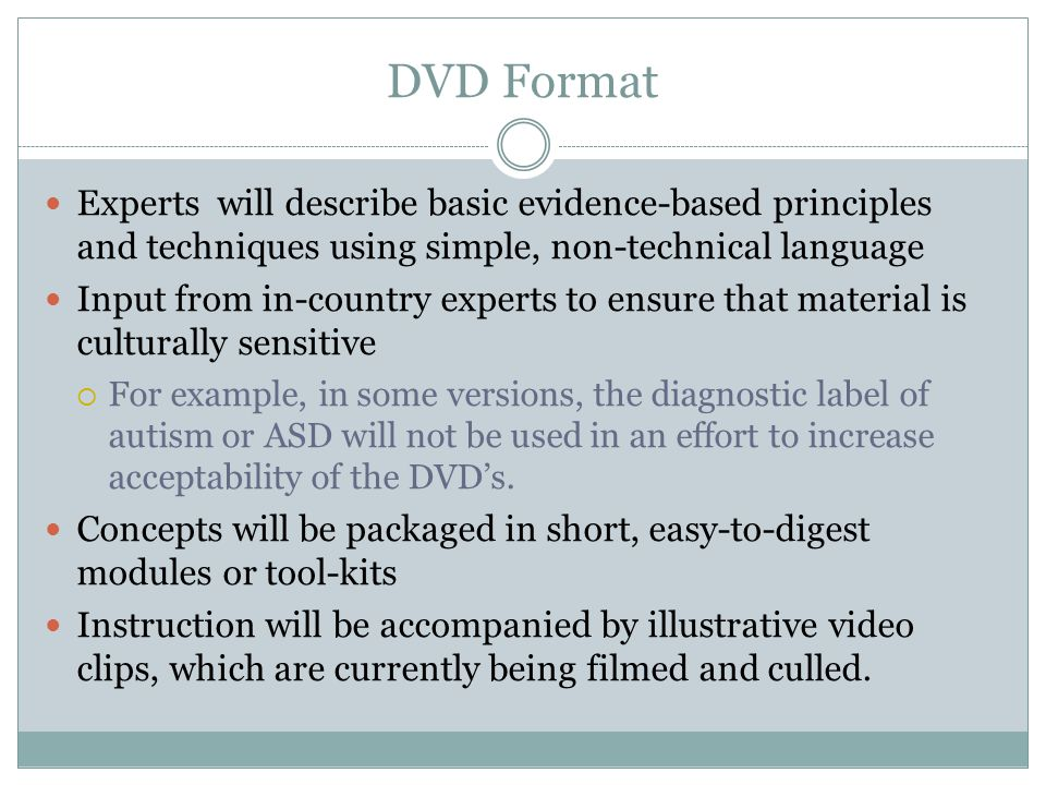 DVD Format Experts will describe basic evidence-based principles and techniques using simple, non-technical language.