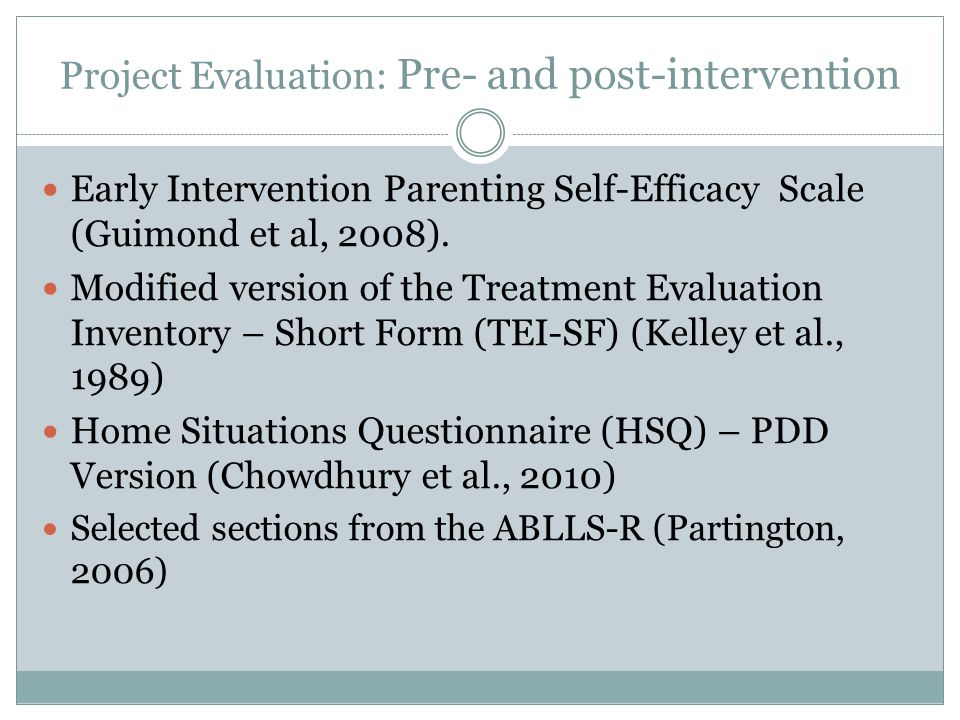 Project Evaluation: Pre- and post-intervention