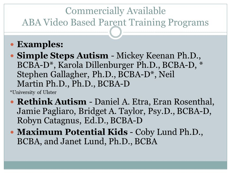 Commercially Available ABA Video Based Parent Training Programs