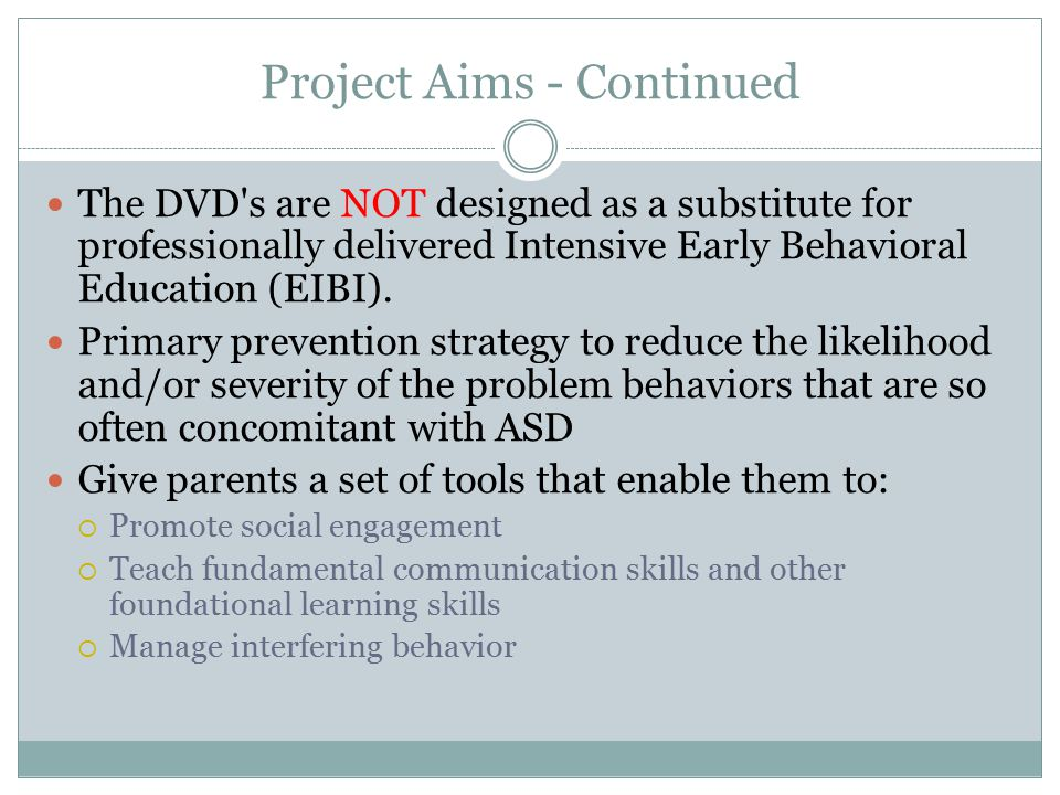 Project Aims - Continued