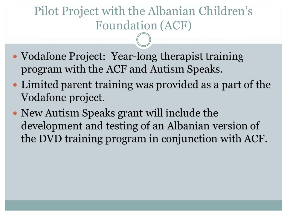 Pilot Project with the Albanian Children's Foundation (ACF)