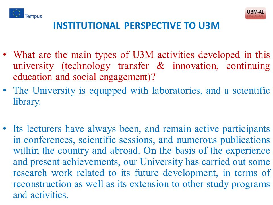 INSTITUTIONAL PERSPECTIVE TO U3M