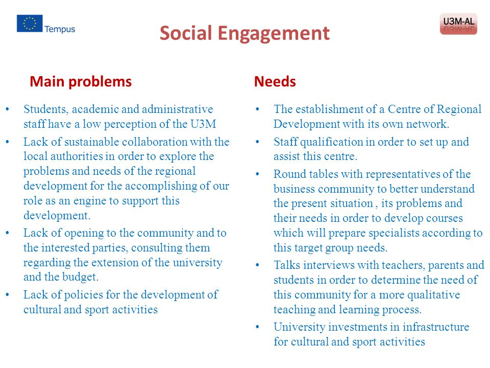 Social Engagement Main problems Needs
