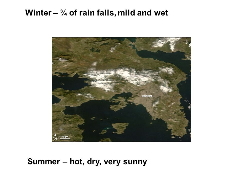 Winter – ¾ of rain falls, mild and wet