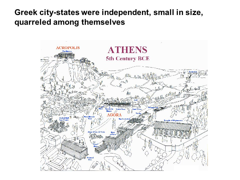 Greek city-states were independent, small in size, quarreled among themselves