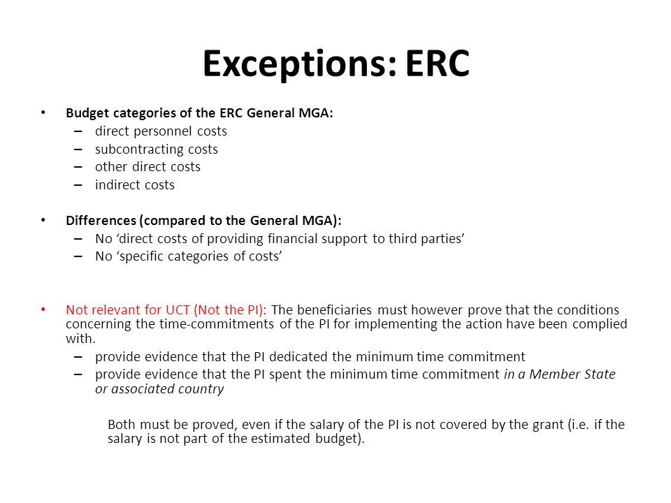 Exceptions: ERC Budget categories of the ERC General MGA: