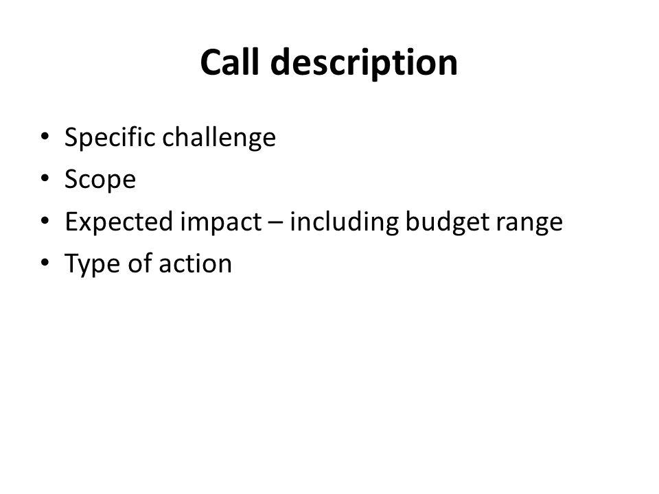Call description Specific challenge Scope