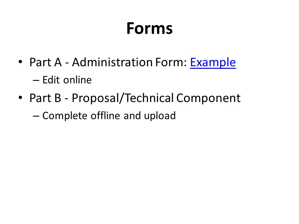Forms Part A - Administration Form: Example