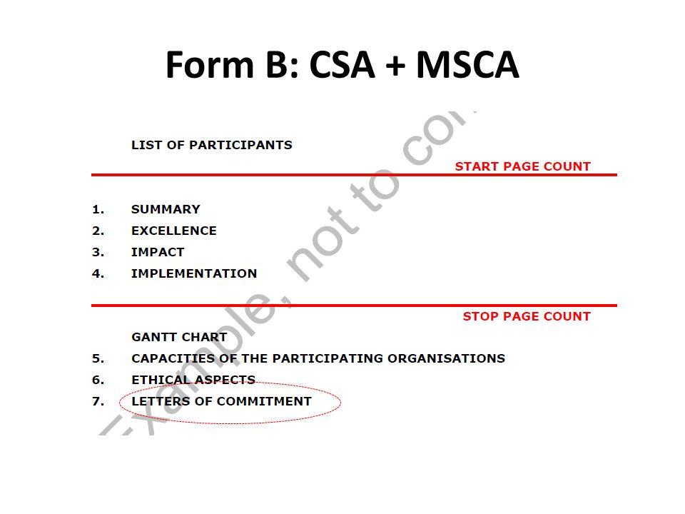 Form B: CSA + MSCA