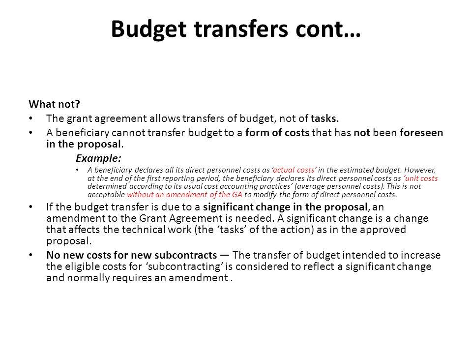 Budget transfers cont…