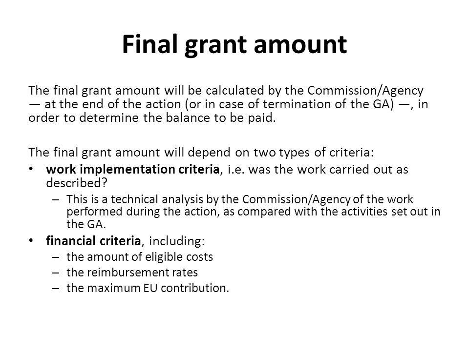 Final grant amount