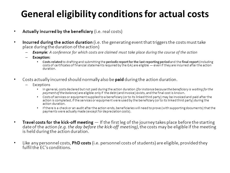 General eligibility conditions for actual costs
