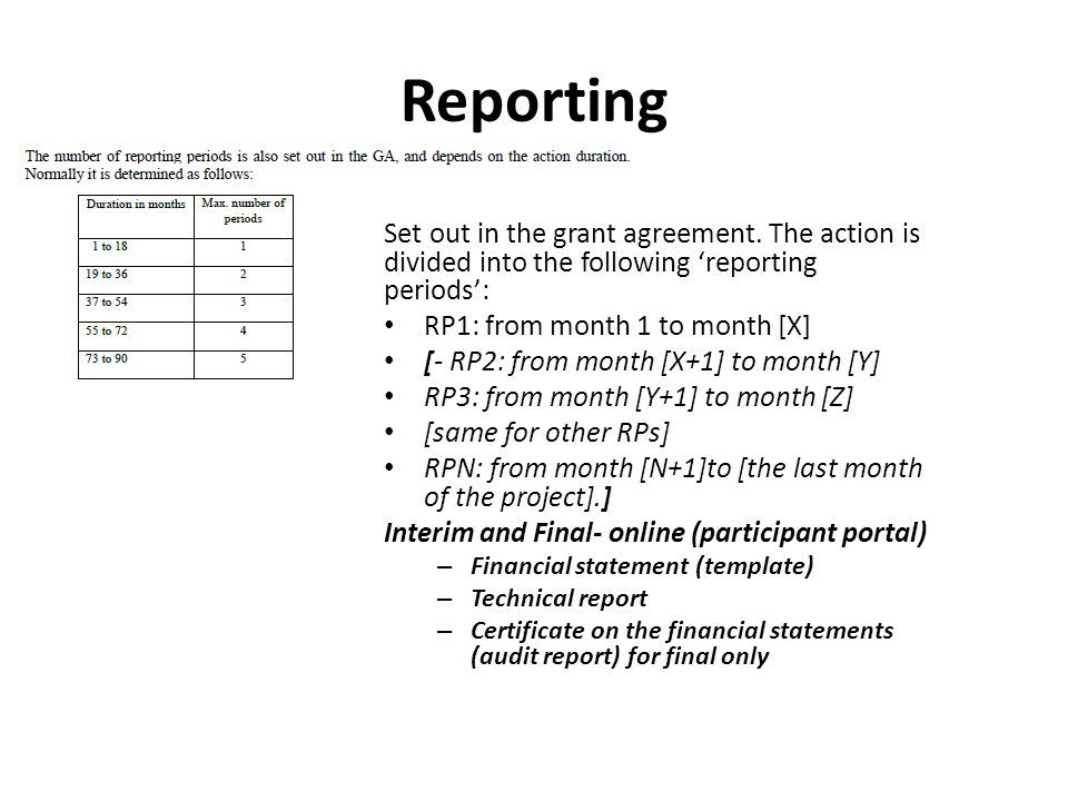 Reporting Set out in the grant agreement. The action is divided into the following 'reporting periods':