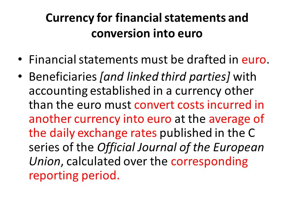 Currency for financial statements and conversion into euro