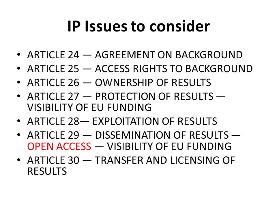 IP Issues to consider ARTICLE 24 — AGREEMENT ON BACKGROUND