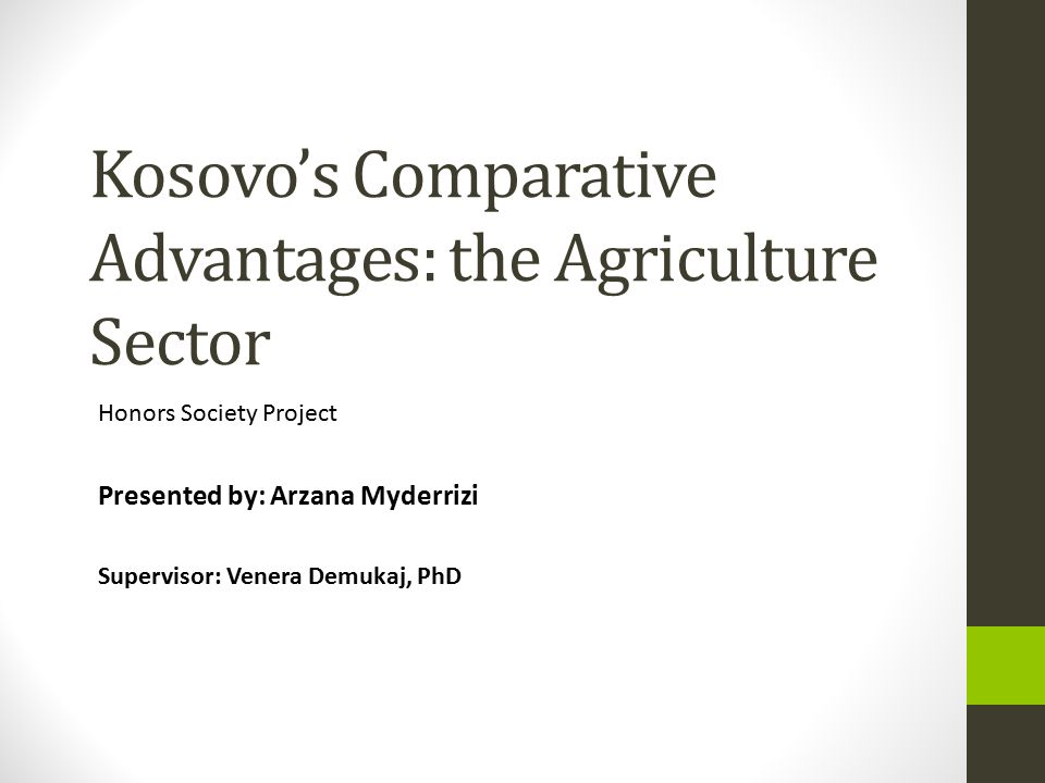 Kosovo's Comparative Advantages: the Agriculture Sector