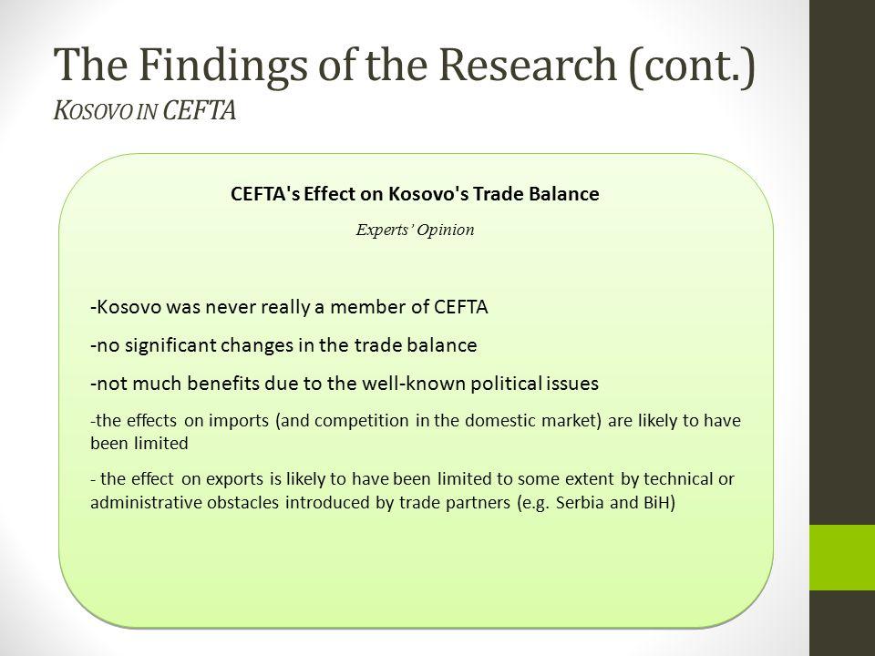 CEFTA s Effect on Kosovo s Trade Balance