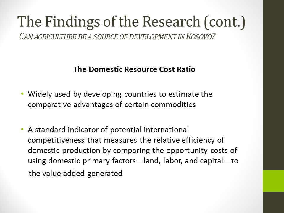 The Domestic Resource Cost Ratio