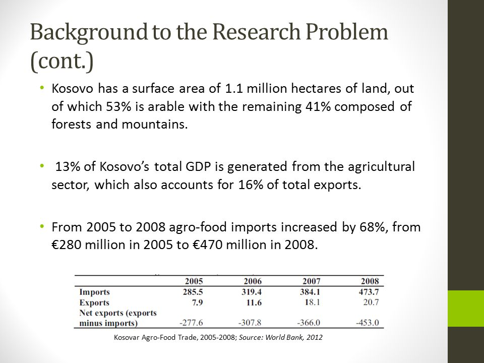 Background to the Research Problem (cont.)