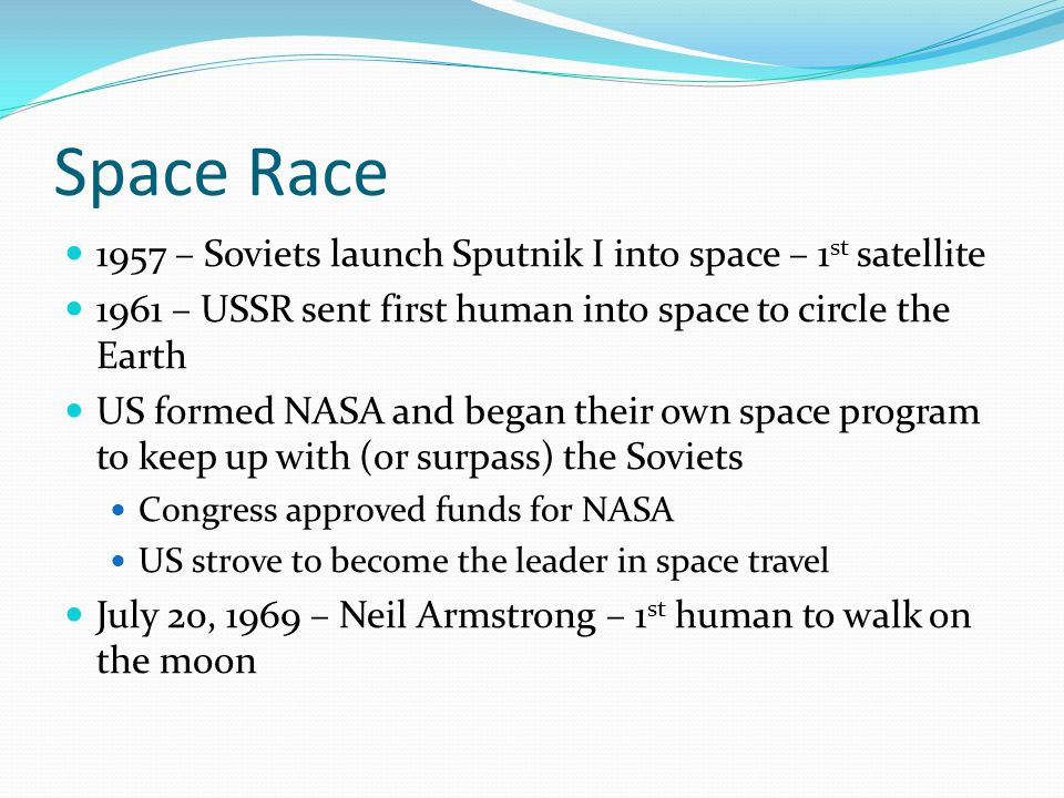 Space Race 1957 – Soviets launch Sputnik I into space – 1st satellite