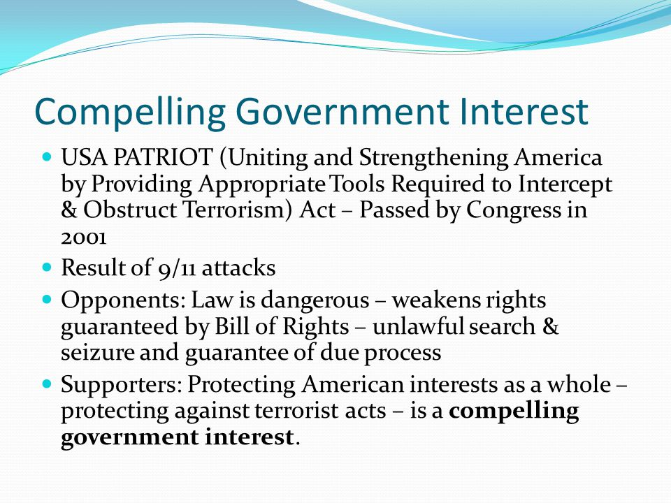 Compelling Government Interest