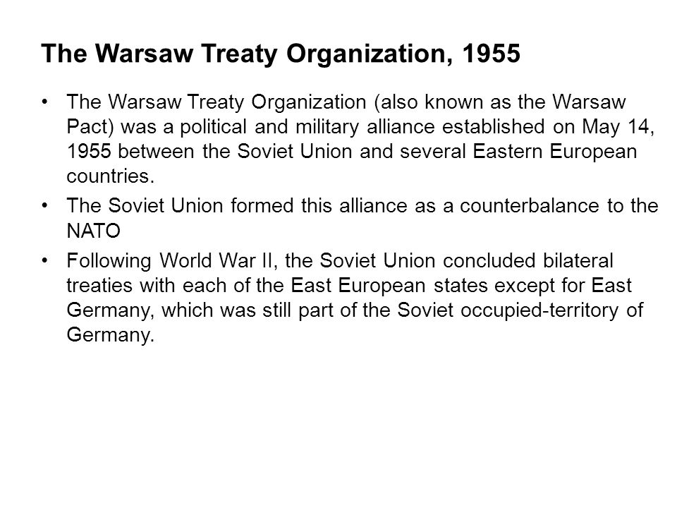 The Warsaw Treaty Organization, 1955