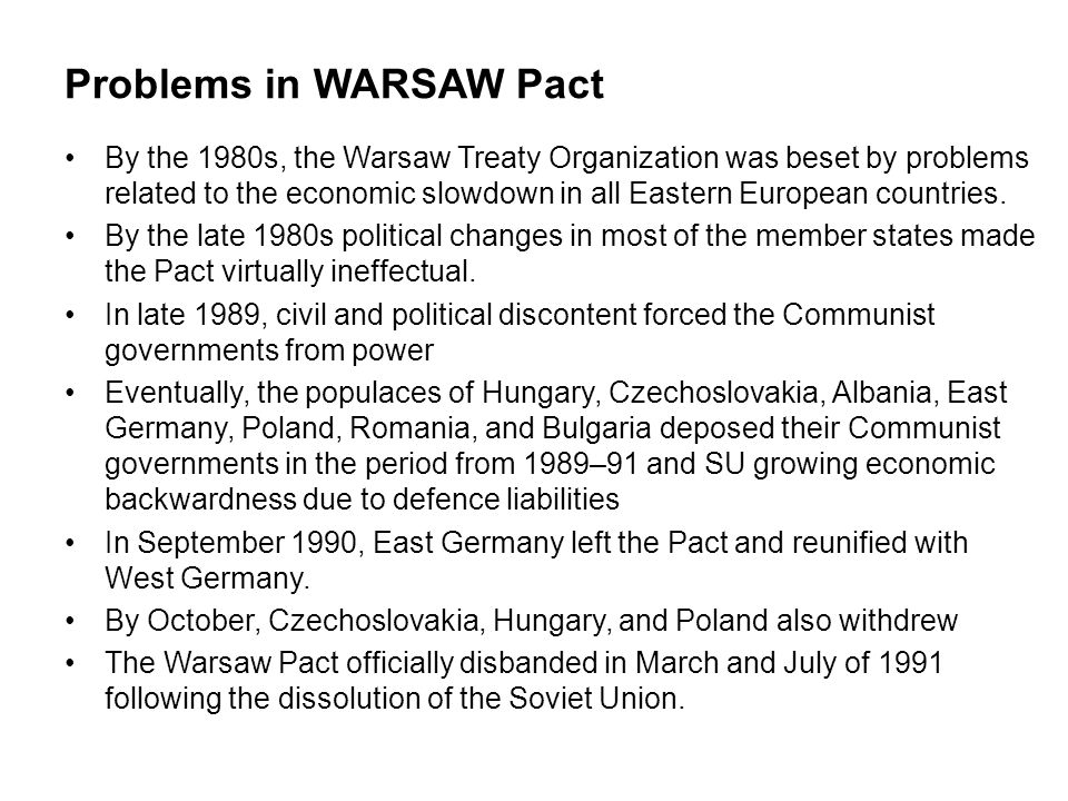 Problems in WARSAW Pact