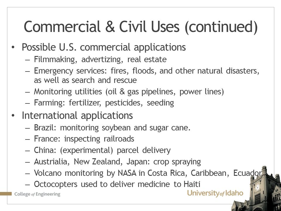 Commercial & Civil Uses (continued)