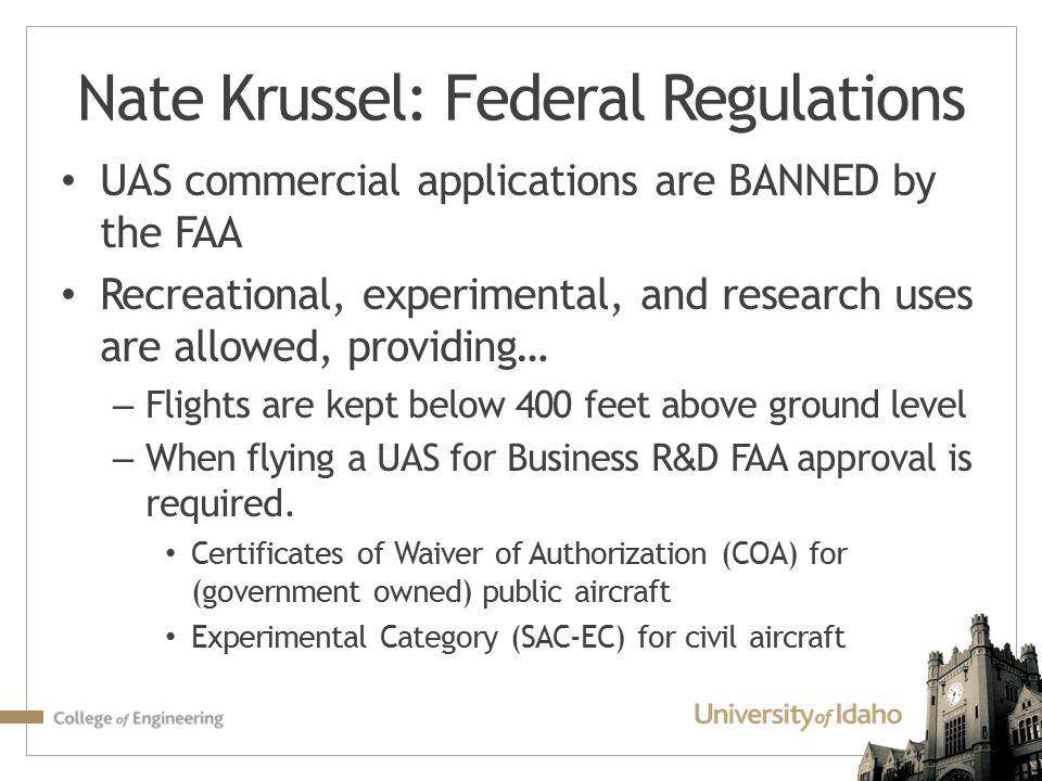 Nate Krussel: Federal Regulations