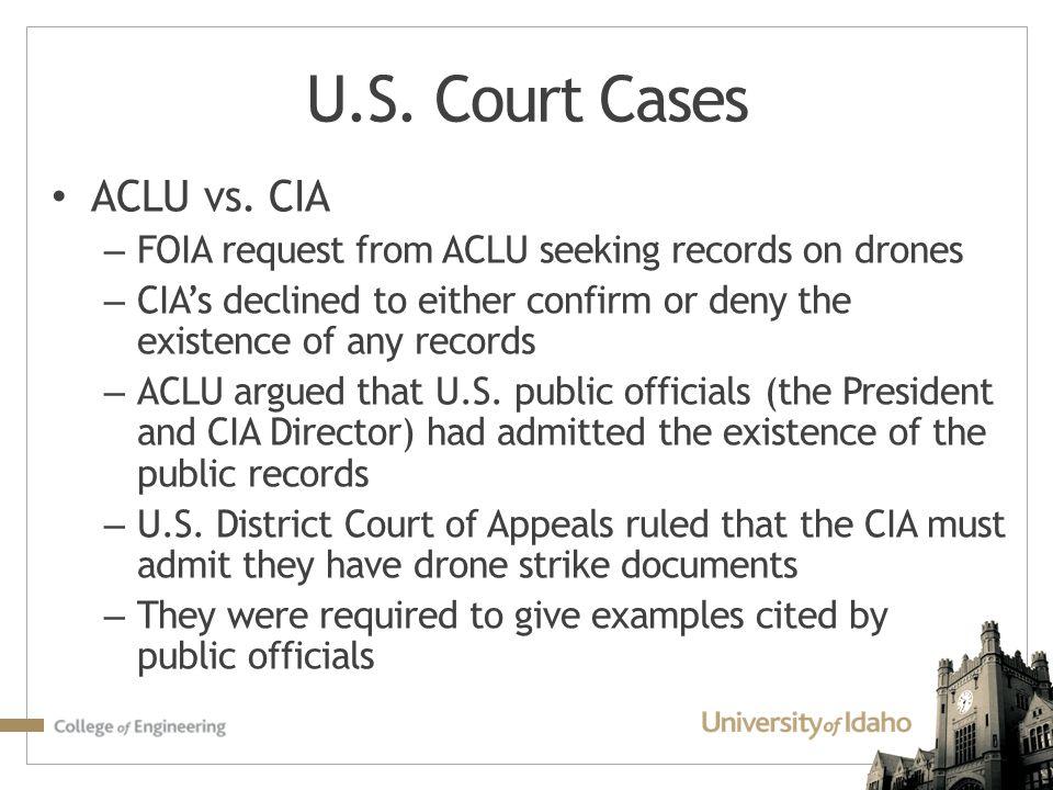 U.S. Court Cases ACLU vs. CIA