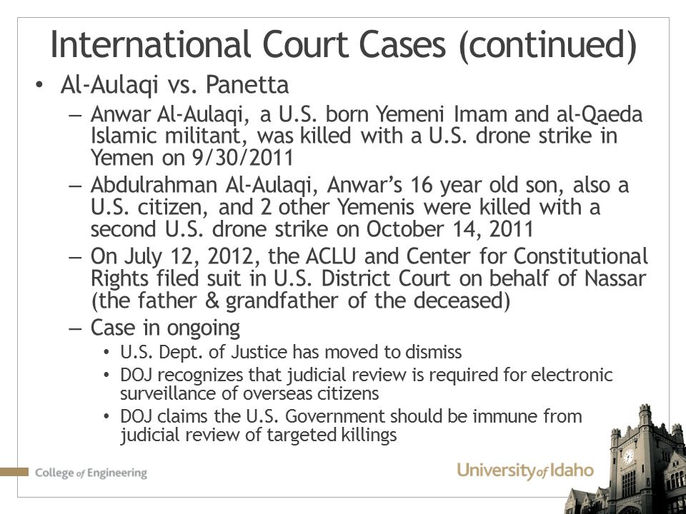 International Court Cases (continued)