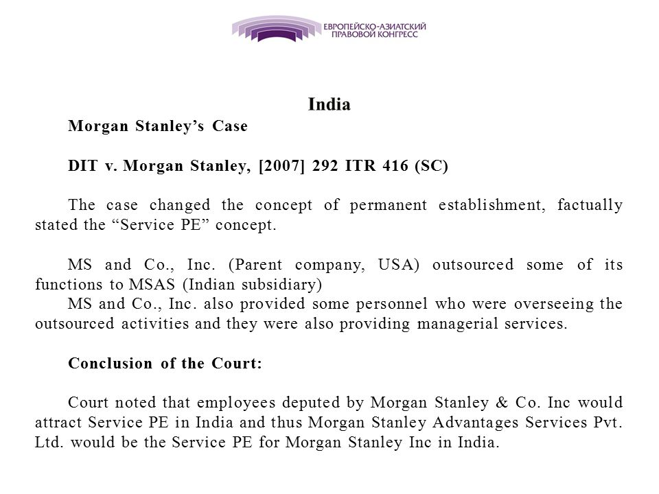 India Morgan Stanley's Case