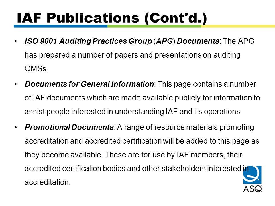 IAF Publications (Cont d.)