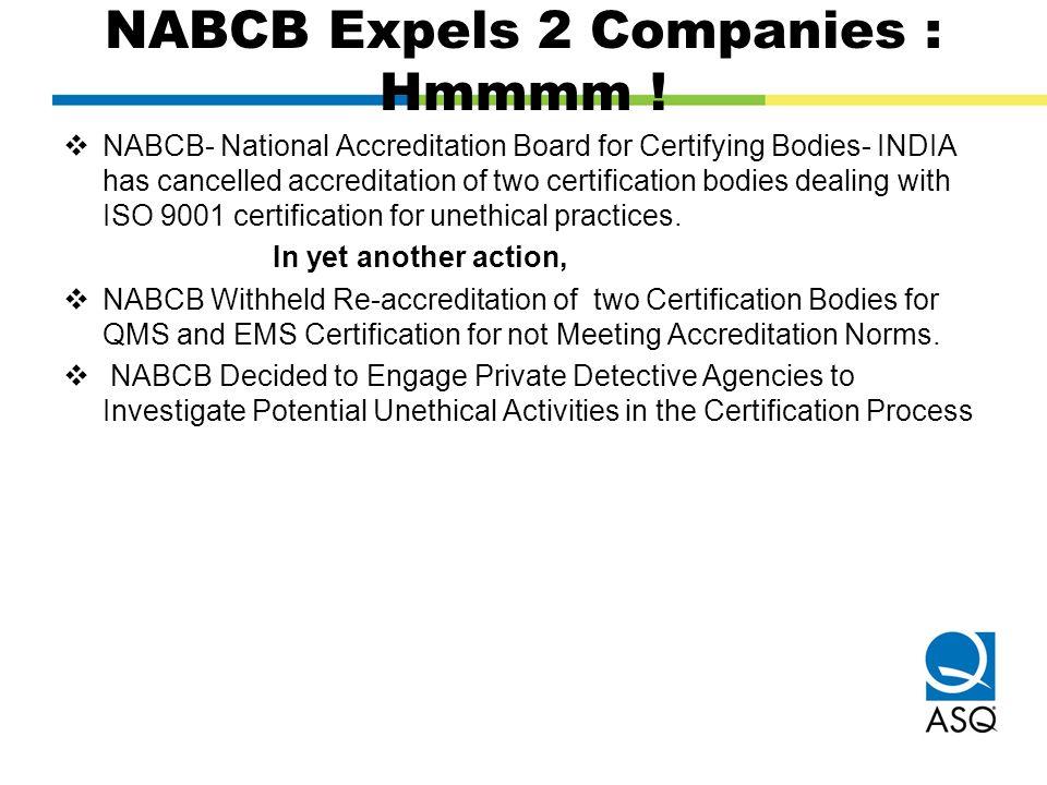 NABCB Expels 2 Companies : Hmmmm !