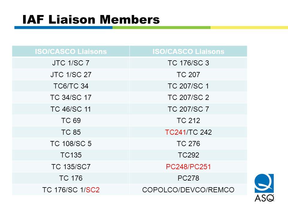 IAF Liaison Members ISO/CASCO Liaisons JTC 1/SC 7 TC 176/SC 3