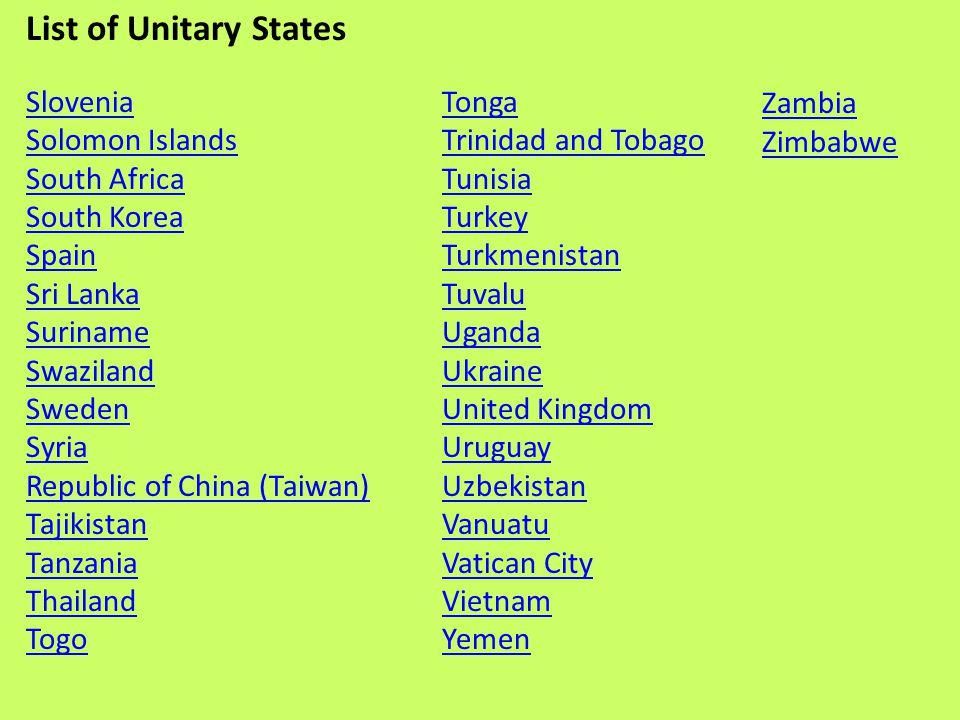 List of Unitary States Zambia Slovenia Zimbabwe Solomon Islands Tonga