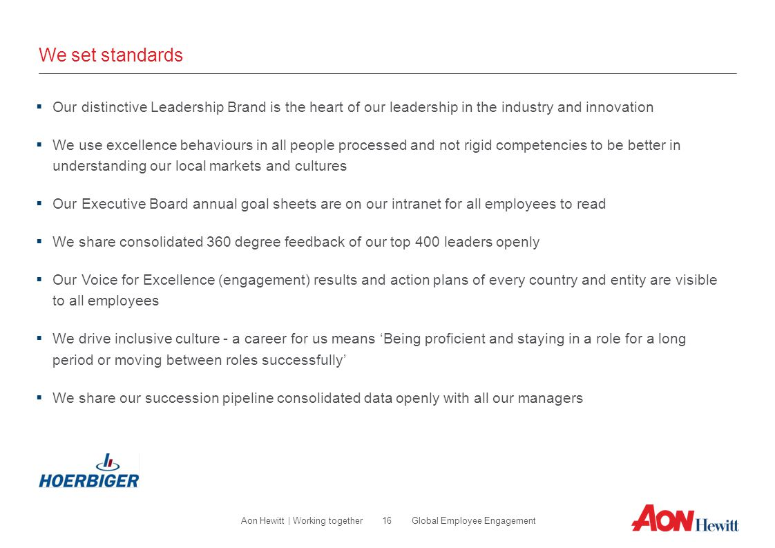 We set standards Our distinctive Leadership Brand is the heart of our leadership in the industry and innovation.