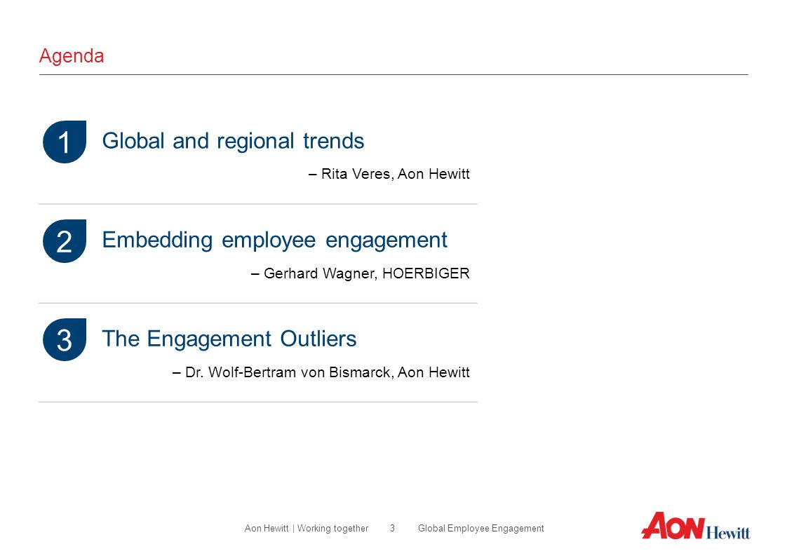 1 2 3 Global and regional trends Embedding employee engagement
