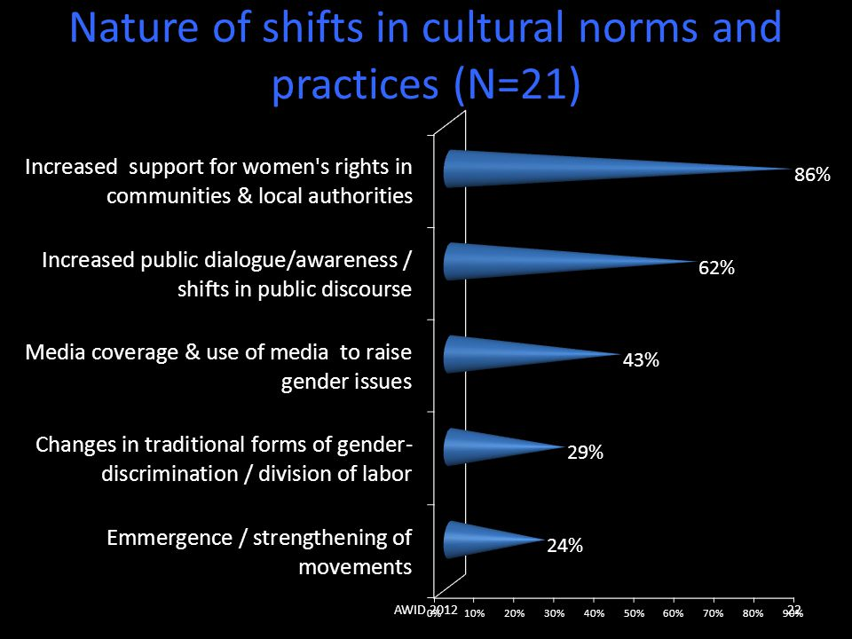 Nature of shifts in cultural norms and practices (N=21)
