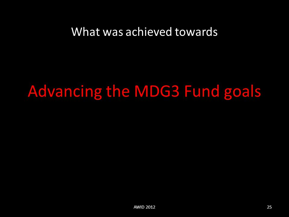 Advancing the MDG3 Fund goals