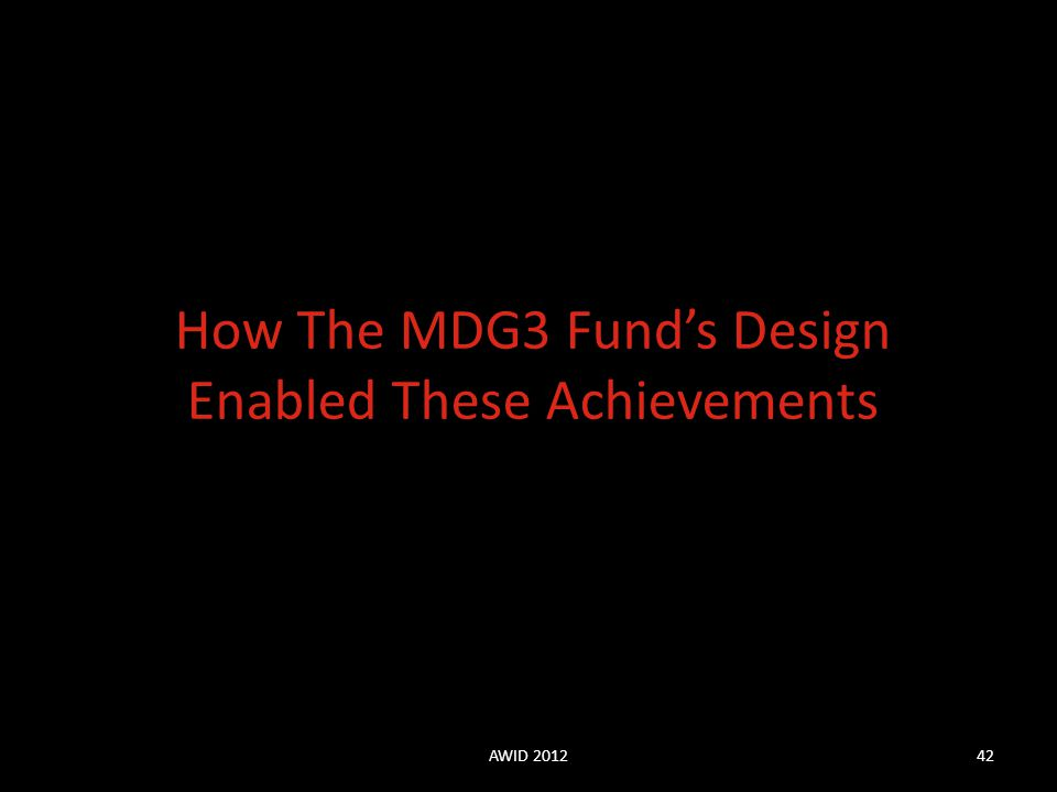 How The MDG3 Fund's Design Enabled These Achievements