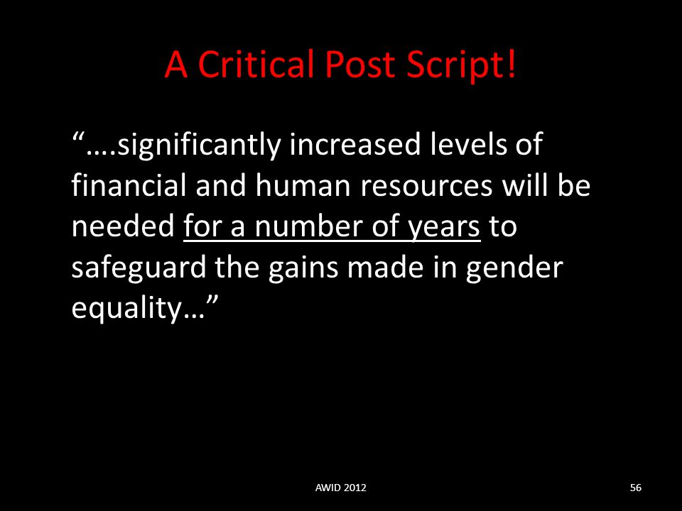 A Critical Post Script!