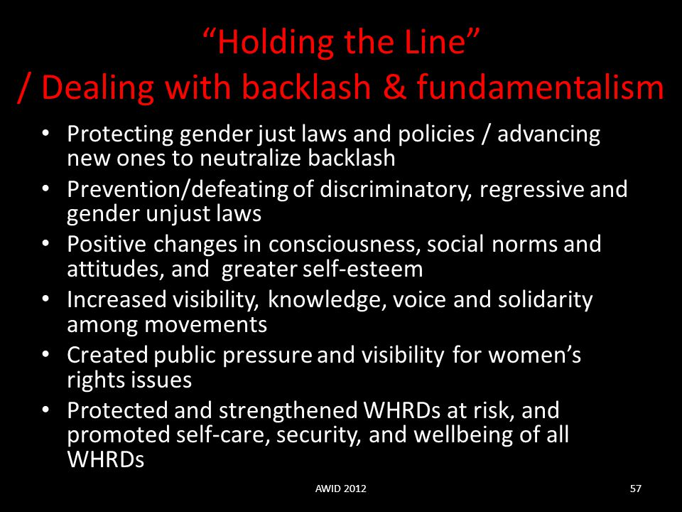 Holding the Line / Dealing with backlash & fundamentalism