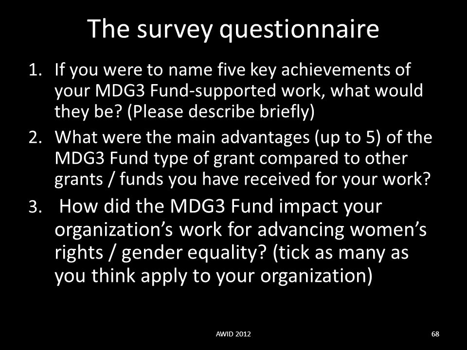 The survey questionnaire