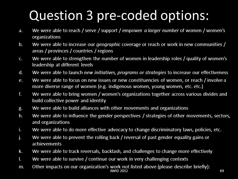 Question 3 pre-coded options: