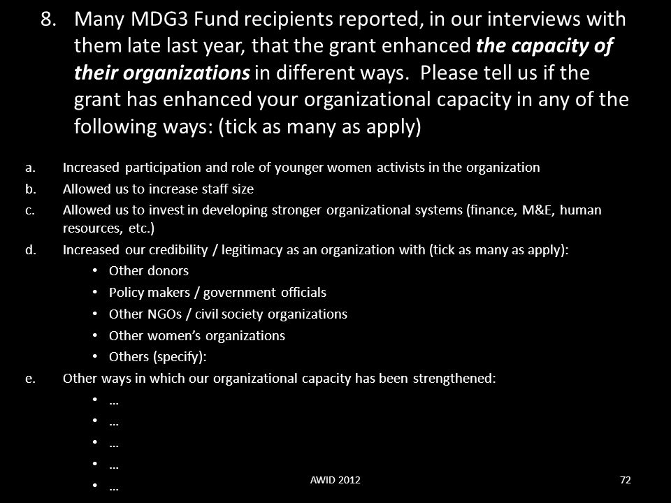 Many MDG3 Fund recipients reported, in our interviews with them late last year, that the grant enhanced the capacity of their organizations in different ways. Please tell us if the grant has enhanced your organizational capacity in any of the following ways: (tick as many as apply)