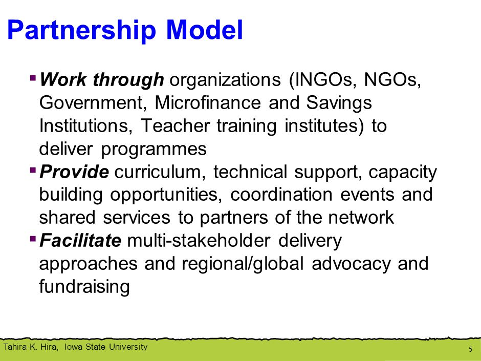Programme Delivery: Network Partners