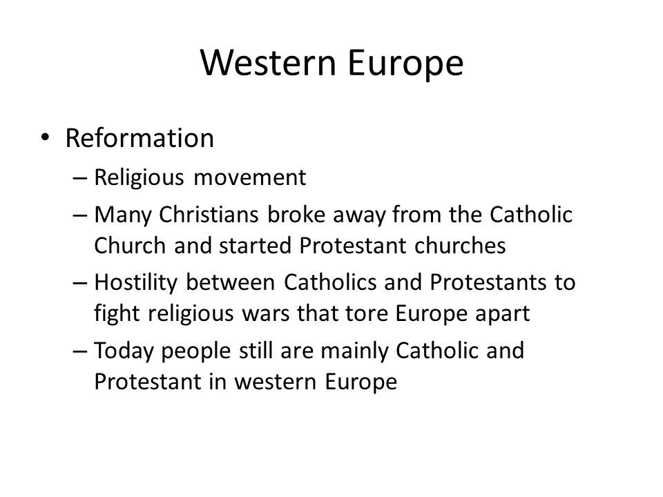 Western Europe Reformation Religious movement